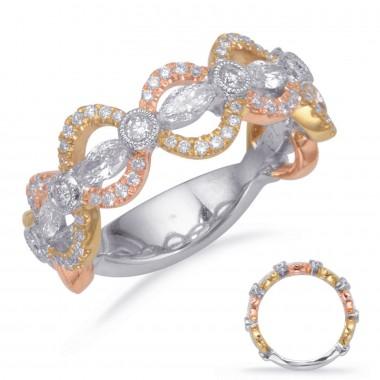 .70 Carat GOLD DIAMOND FASHION RING Tri Color 14K Rose -Yellow-White Gold