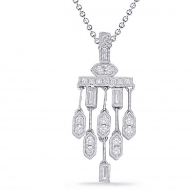 "1/2 ctw. 14K White GOLD DIAMOND CHANDELIER NECKLACE PENDANT & 16"" CABLE CHAIN"