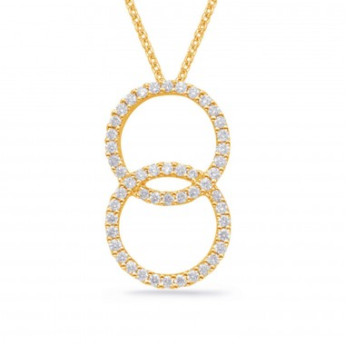 "1/2 ctw. 14K Yellow GOLD DIAMOND Circles NECKLACE PENDANT & 16"" CABLE CHAIN"