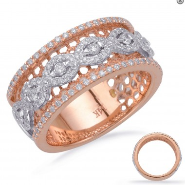 .50 ctw. Two-Tone GOLD & DIAMOND FASHION RING Micro Pave Set White and Rose Gold G VS2-SI1