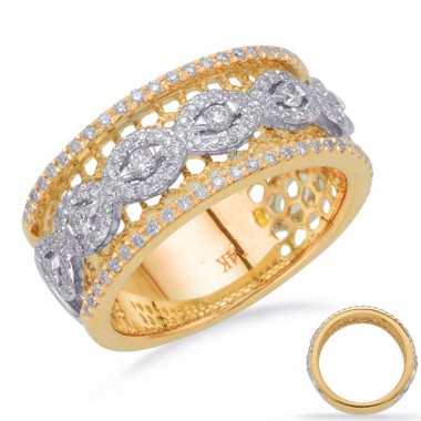 .50 ctw. Two-Tone GOLD & DIAMOND FASHION RING Micro Pave Set Yellow and White Gold G VS2-SI1