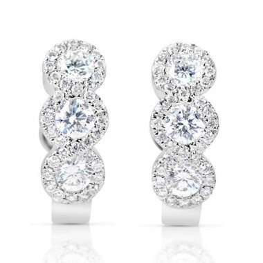 0.65 ctw. WHITE GOLD EMERALD & DIAMOND HUGGIE EARRING