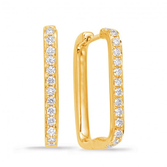 0.40 ctw. YELLOW GOLD DIAMOND HOOP EARRING 20mm Height 13mm mm width G SI1