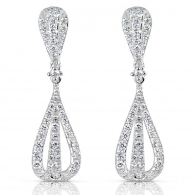 1.50 ctw. WHITE GOLD DIAMOND EARRING 51mm G SI1 Ideal