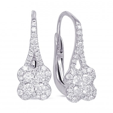 .50 CTW Diamond Cluster Hanging Earrings 14K White Gold G SI1 Ideal Cut 17mm High 7mm Wide
