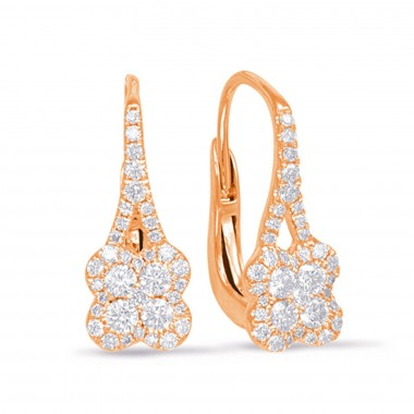 .50 CTW Diamond Cluster Hanging Earrings 14K Rose Gold G SI1 Ideal Cut 17mm High 7mm Wide
