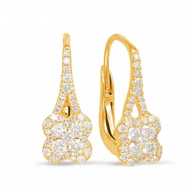 .50 CTW Diamond Cluster Hanging Earrings 14K Yellow Gold G SI1 Ideal Cut 17mm High 7mm Wide