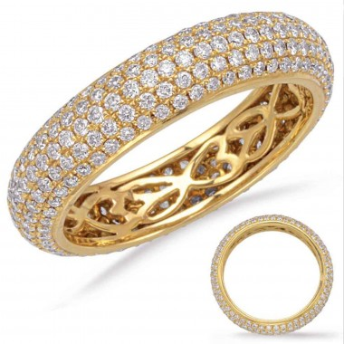 1.36 ctw. Yellow GOLD ETERNITY PAVE BAND 5mm Size 7