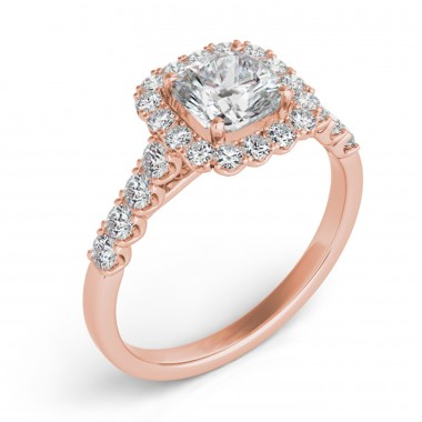 0.54 ctw. ROSE GOLD HALO ENGAGEMENT SEMI MOUNT RING