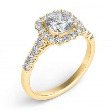 0.54 ctw. YELLOW GOLD HALO ENGAGEMENT SEMI MOUNT RING
