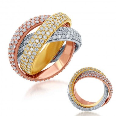 4.36 ctw. SHARED PRONG TRI-COLOR ETERNITY Band MICRO PAVE TRI COLOR GOLD