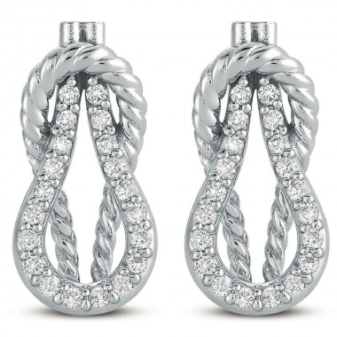 1/3 ctw WHITE GOLD LOVE KNOT ROPE EARRING 14K WHite Gold 18mm High 9mm Width