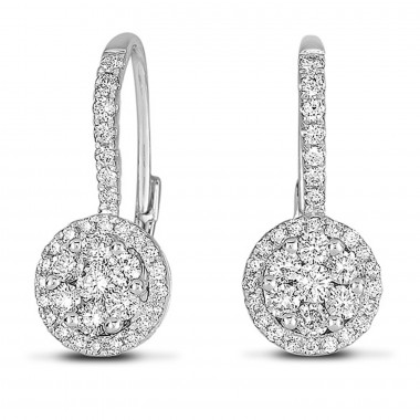 .65 CTW Diamond Cluster Round Hanging Earrings 14K White Gold G SI1 Ideal Cut 18mm High 8mm Wide