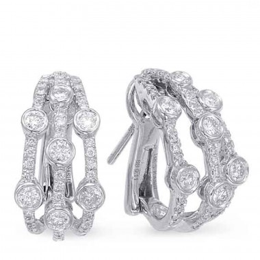 0.89 ctw. WHITE GOLD DIAMOND EARRING CLIP 18MM HIGH 9MM WIDE