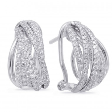 0.85 ctw. WHITE GOLD DIAMOND EARRING CLIP 14MM HIGH 8MM WIDE