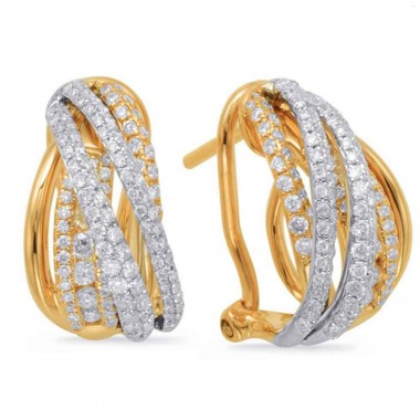 0.85 ctw. YELLOW GOLD DIAMOND EARRING CLIP 14MM HIGH 8MM WIDE