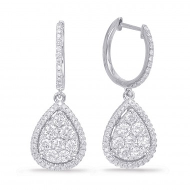 1.30 ctw. WHITE GOLD DIAMOND PEAR SHAPE CLUSTER PAVE EARRING 14K G SI1 Ideal Cut 28mm High 11mm Wide