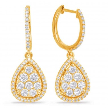 1.30 ctw. yellow GOLD DIAMOND PEAR SHAPE CLUSTER PAVE EARRING 14K G SI1 Ideal Cut 28mm High 11mm Wide