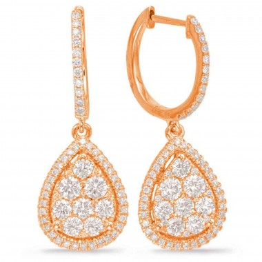 1.30 ctw. WHITE rose DIAMOND PEAR SHAPE CLUSTER PAVE EARRING 14K G SI1 Ideal Cut 28mm High 11mm Wide