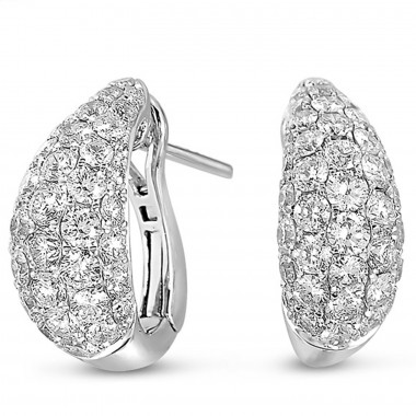 1.78 ctw. WHITE GOLD DIAMOND EARRING Cluster Round 14K White Gold G SI1 Ideal Cut 15mm High 7mm Wide
