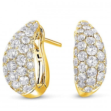 1.78 ctw. yellow GOLD DIAMOND EARRING Cluster Round 14K White Gold G SI1 Ideal Cut 15mm High 7mm Wide