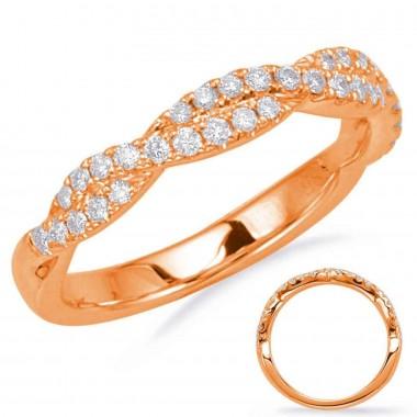 Rose Gold 1/3 CTW Diamond Twist Wedding Band 3mm Wide G VS2-SI1 Ideal Cut
