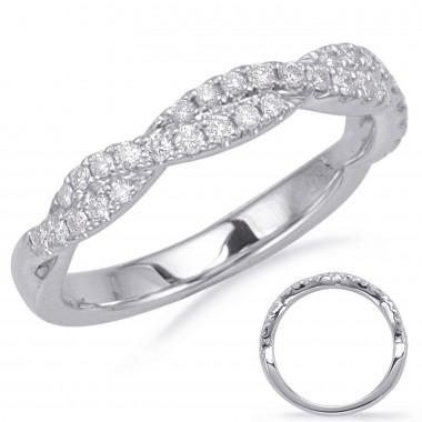 White Gold 1/3 CTW Diamond Twist Wedding Band 3mm Wide G VS2-SI1 Ideal Cut