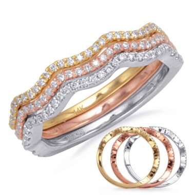 3 ring stackable diamond rose white yellow gold 1/3 ctw