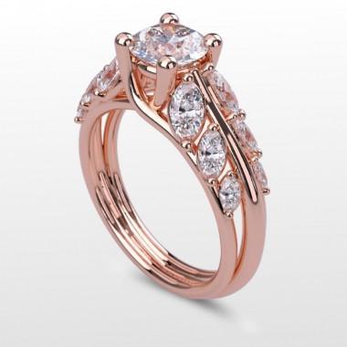 1.75 Carat Round Center Diamond Tapered Marquise Cage Designer Ring