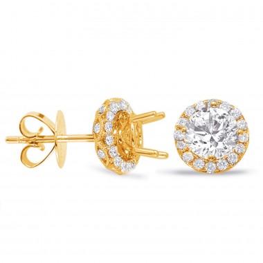 1.36 CTW Diamond Halo Diamond Earrings 14K Yellow Gold Diamonds On the Cage