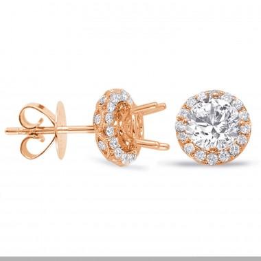 1.36 CTW Diamond Halo Diamond Earrings 14K Rose Gold Diamonds On the Cage