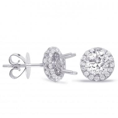 1.36 CTW Diamond Halo Diamond Earrings 14K White Gold Diamonds On the Cage