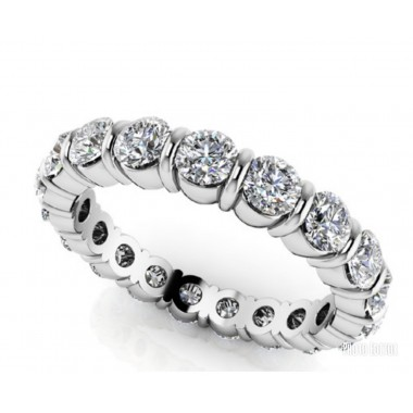 3.25CT Round Diamond Bar Set Eternity Wedding Band G VS Ideal Cut Diamonds