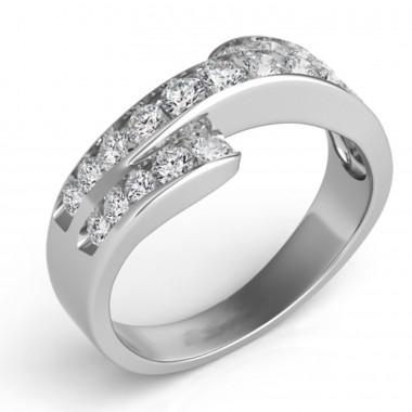 .75Ct Diamond Fashion Band 14K White Gold G VS2-SI1 Ideal Cut Top 8mm Bottom 3mm
