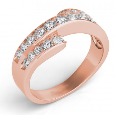 .75Ct Diamond Fashion Band 14K rose Gold G VS2-SI1 Ideal Cut Top 8mm Bottom 3mm