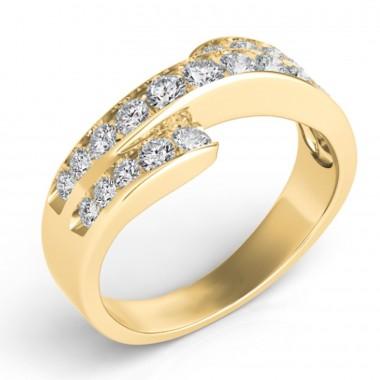 .75Ct Diamond Fashion Band 14K yellow Gold G VS2-SI1 Ideal Cut Top 8mm Bottom 3mm
