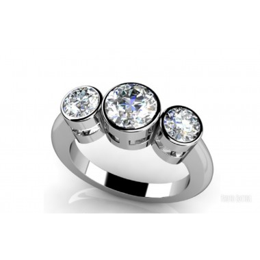 1 Carat Total Weight- Three Stone Ring-set with 2x .15 and 1x .65