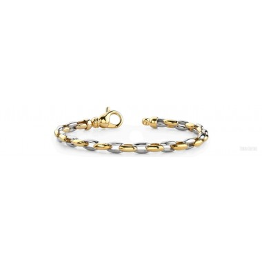 Men's Rope Round Bracelet 14K Two Tone Gold