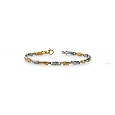 Men's Round Bracelet 14K Two Tone Gold