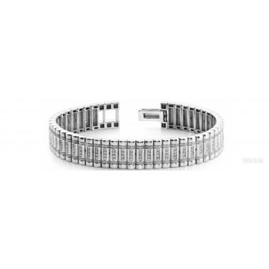 2.58 Carat Round Cut Diamond Link Bracelet 14K White Gold 55g