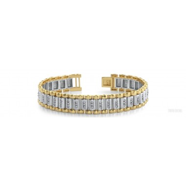 2.00 Carat Round Cut Diamond Link Bracelet 14K Two-Tone Gold 45g