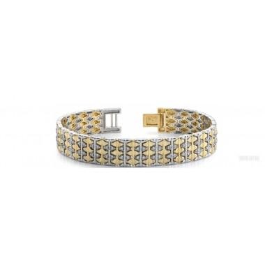 2.70 Carat Round Cut Diamond Link Bracelet 14K Two-Tone Gold 58g