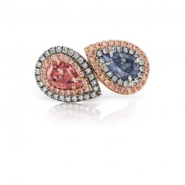 1.02 CT Natural ORANGE PINK Diamond 1.02 CT Natural BLUE GREY Diamond GIA Certified