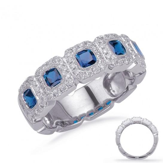 1.07 ctw. WHITE GOLD SAPPHIRE & DIAMOND HALO RING 6MM