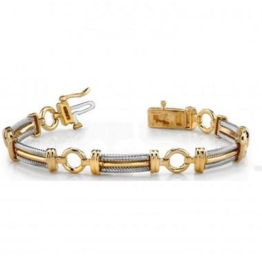 Men's Rope Round Bracelet 14K Two Tone Gold 21g