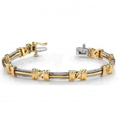 Men's Rope Round Bracelet 14K Two Tone Gold 17.8g