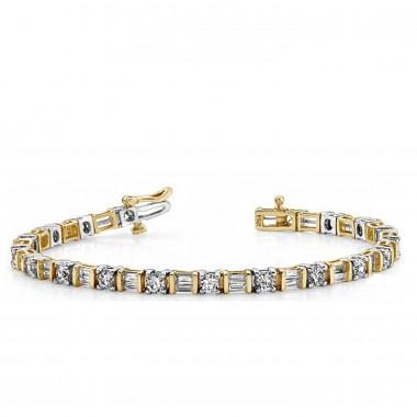 4.52 ct Round & Baguette Diamonds Eternity Tennis Bracelet 15.2gr of 14k gold G SI1