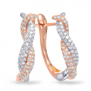 .65 CTW Diamond Cluster Round Hanging Earrings 14K Rose Gold G SI1 Ideal Cut 18mm High 8mm Wide