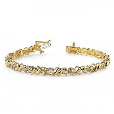 1.55 Carat Designer Round Diamond Tennis Bracelet 14K Yellow Gold 13.5g