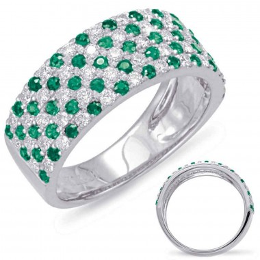 1.34 ctw. WHITE GOLD GREEN GARNET & DIAMOND RING 105 STONES 8MM